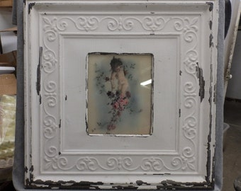 TIN CEILING Creamy White Metal Picture Frame 8x10 Shabby Recycled chic 439-16