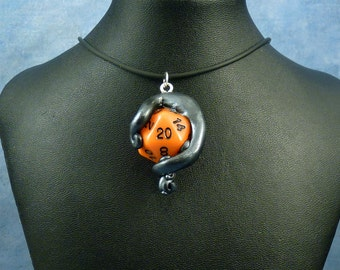 Antique Silver and Orange Sanity Check Necklace - Tentacle Wrapped D20 Pendant
