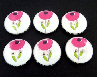 6 Pink Flower Buttons. Handmade Novelty Buttons.  Dark Pink Flower Decorative Novelty Buttons for Sewing.