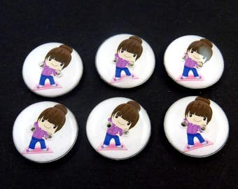 "6 Exercising Girl Buttons.  3/4"" or 20 mm Exercise or Fitness Gym Girl Sewing Buttons.  Handmade by Me.  Washer and Dryer Safe."