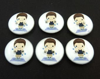 """6 Exercising Boy Buttons.  3/4"""" or 20 mm Weight Lifting or Fitness Boy Sewing Buttons.  Handmade by Me.  Washer and Dryer Safe."""