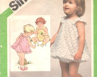 Simplicity 9992 1980s Toddlers Romper Sundress and Bloomers Pattern Girls Vintage Sewing Pattern Size 3 Breast 22