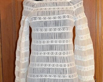 1960s 1970s micro mini tunic sheer ruched lace floral dress blouse. stripes and pleats. flowers xs  b34 white novelty non traditional bride