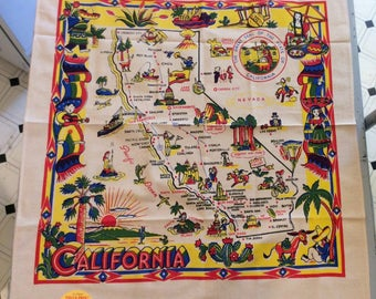 Vintage Souvenir Tablecloth 1940's Sunny California MWT