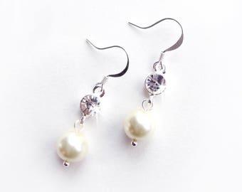 Earrings - Simple Pearl & Crystal Earrings - Silver or Gold - Custom Pearl Colors - Pearl Bridesmaid Earrings - Wedding Earrings