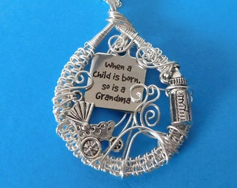 Grandma Charm Necklace Gift, Unique Wire Wrap, Birth Announcement, When a Child is Born, Grandchild Pendant , Baby Carriage, Nana Present