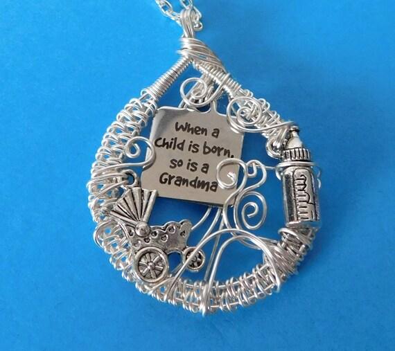 Grandma Charm Necklace Gift, Unique Necklace Gift for Grandma, Unique Grandma Necklace Gift, When a Child is Born So is a Grandma Necklace