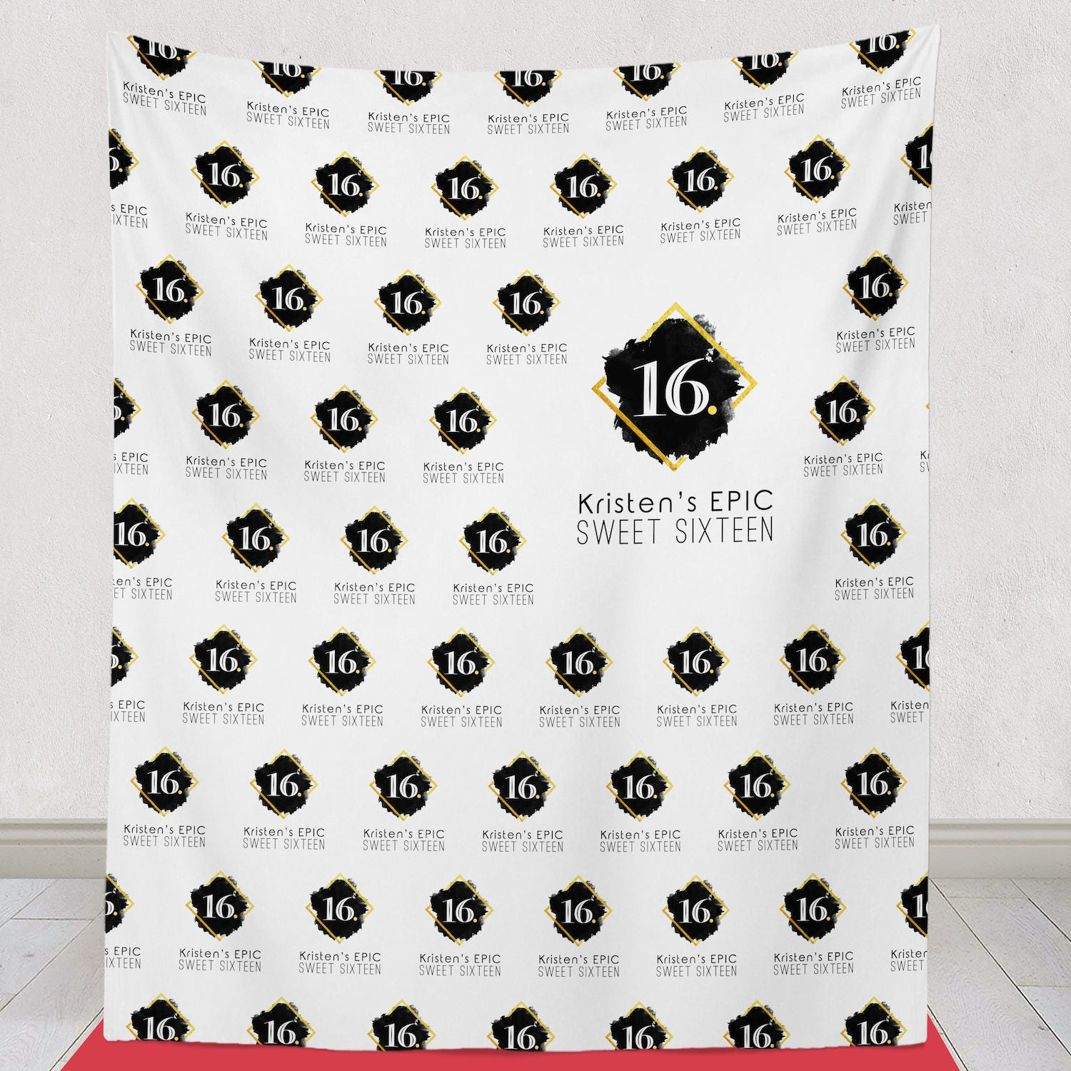 Sweet 16 Step and Repeat Backdrop Sweet 16 Party backdrop