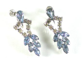 Blue Clear Rhinestone Vintage Prong Set Screw Back Silver Bridal Earrings