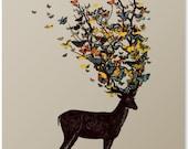Deer Print / Butterfly Print / Animal Print / Antler Wall Art / Beautiful Print / Colorful Artwork / Home Decor / 8 x 10