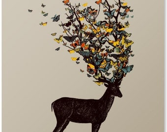 Deer Print / Butterfly Print / Animal Print / Antler Wall Art / Beautiful Print / Colorful Artwork / Home Decor / 8 x 10