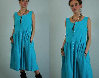 Summer Tank Dress Vintage 90s Aqua Cotton Slouchy Summer Tank Dress (os)