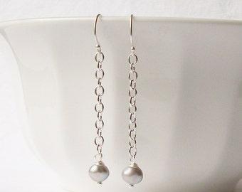 Gray Freshwater Pearl Dangle Earrings, Pearl Earrings