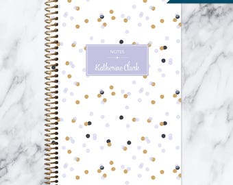 NOTEBOOK personalized journal | lined notebook | personalized gift | stocking stuffer | spiral notebook | purple lavender gold confetti