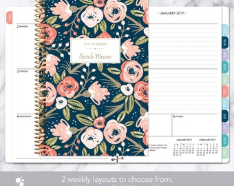 planner 2018 | 2017-2018 weekly planner | calendar student planner add monthly tabs | personalized agenda daytimer | navy pink gold floral