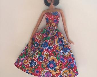 Handmade fits Barbie Clothes Strapless Dress Designs by P D Reneau (G212)