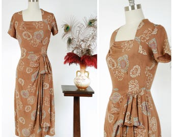 Vintage 1940s Dress - Fantastic Soft Brown Silk Heart Print 1940s Day Dress with Side Drape