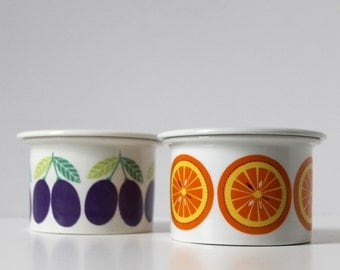 Arabia of Finland Pomona Series Jam Pot, Orange Marmalade Pattern, Scandinavian Ceramics, Raija Uosikkinen