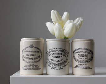 Three Dundee Marmalade Crocks, James Keiller & Son, Advertising Jam Jars, Rustic Modern Kitchen, Ironstone Jam Pots, Instant Collection