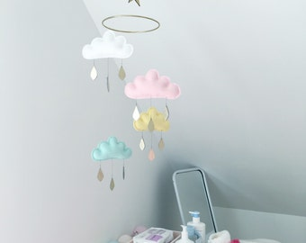 "Star Nursery cloud mobile ""MEDINA"" by The Butter Flying-White,light pink,light yellow, light mint"