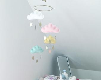 "Star Nursery cloud mobile ""MEDINA"" by The Butter Flying-White,light pink,light yellow, light mint"