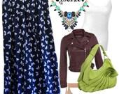 Vintage 80s High Waist Butterfly Maxi Skirt - Size M