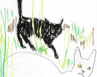Cats in the Garden II / ORIGINAL Drawing / oil pastel / cat art 21.5cm x 30cm