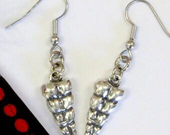 Rattlesnake Tail Earrings Sterling Silver Rattlesnake Tails Silver Rattle Snake Jewellery 541