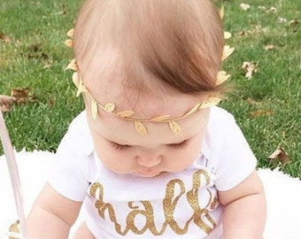 Birthday - Half Birthday - Photo Prop Bohemian Gold Leaf Halo Headband - Crown - Newborn - Baby Girl