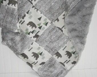 faux fur blanket- - baby blanket- bear baby blanket- woodgrain baby blanket-patchwork minky baby blanket- patchwork- gray baby blanket