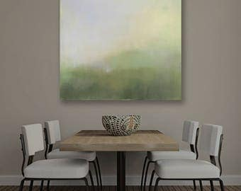Abstract Landscape Canvas Print, Large Giclee Print, Minimalism, Abstract Landscape, Large Print, Ethereal Print, Misty Green, Trees in Mist