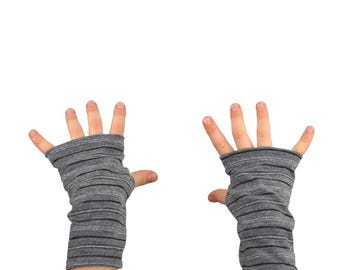 Kids Arm Warmers in Grey and Silver Tinsel Stripes - Fingerless Gloves