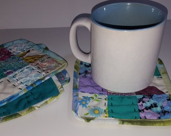 Patchwork Drink Coasters, Teal, reversible,  cotton fabric, drink coaster, beverage coaster, hostess gift