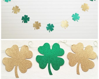 Glitter 4 Leaf Clover Garland - 4.75 inch tall - St Patricks Day Shamrock Garland St Patrick's Day Party Banner St Patty Decor four leaf