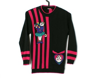 Vintage 80S KAWAII Black and Pink CAT GIRL Sweater