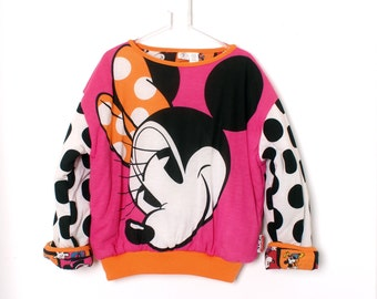 Vintage 90s MINNIE MOUSE REVERSIBLE puffer Sweater Disney Mickey and Co
