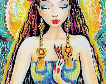 Quan Yin, goddess of Mercy, inspirational art, watercolor illustration, painting, wall decor, feminine decor, beauty painting print 8x11+
