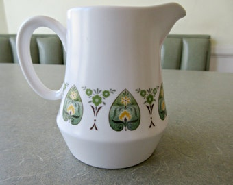 Vintage Creamer, Noritake Creamer, Progression China, Palos Verdes, Small Milk Jug, Small Pitcher, Green Flowers Pattern, Ceramic Creamer