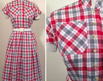 1950s Grey, Red and White Plaid Cotton Vintage Dress SZ S/M