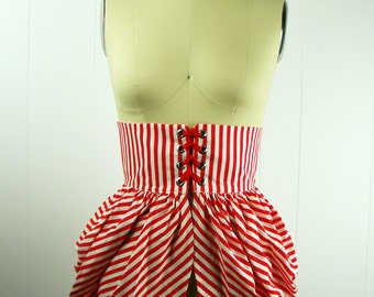 Red and White Striped Bustle, Striped Bustle, Gothic Clothing, Steampunk Bustle, Circus Costume, Women's Costume, Stage Wear