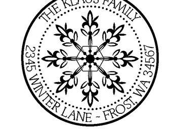 Snowflake Custom Return Address Rubber Stamp
