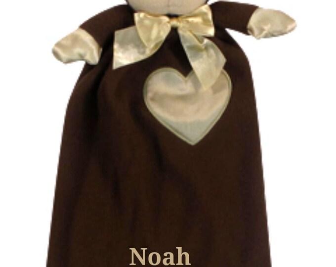 Embroidered Monkey Minky Security Blanket, Free Personalization Security Blanket, Embroidered Baby Keepsake