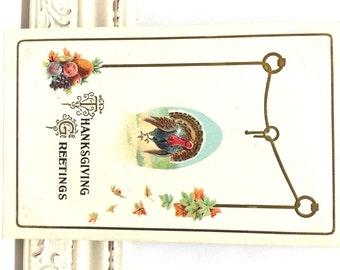 Vintage Thanksgiving Postcard, Vintage Postcard, Thanksgiving Ephemera, Thanksgiving Turkey, Fall Leaves in Orange and Green, Holiday Card