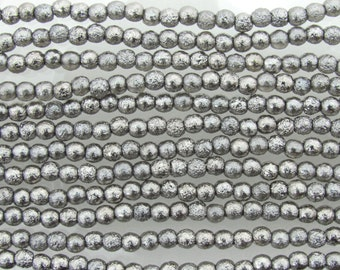 4mm Metallic Vintage Silver Etched Czech Glass Round Beads - Qty 50 (BW158)
