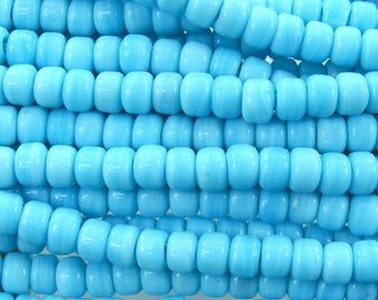 9x6mm Opaque Blue Turquoise Glass Crow Beads - 12 Inch Strand (BW217) SE