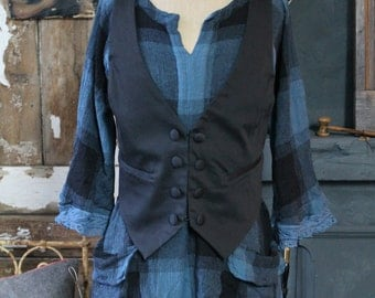 French Smoke Blue Black Check Smock Top Dress Casual Crinkle Cotton Linen Gardening Easy Loose High Waisted Hand Dyed Antique Lace Detail