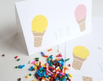 Vintage Ice Cream Yum Printable Food Tent Cards