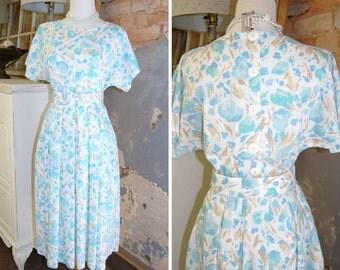 1980s Vintage Dress 80s Cotton Petite Summer Dress Raglan Sleeve Dress  Mid Calf Hem White Teal Floral Dress Belted Gathered Skirt Size 6