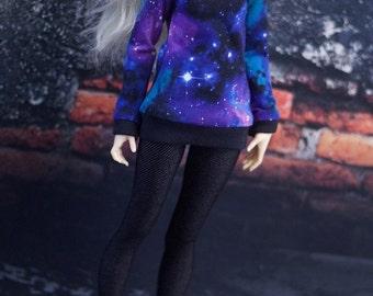 Dark Galaxy Print Shirt for Minifee BJD MNF MSD Universe Sweater Made to Order