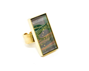 Abstract Art Drip Painting Ring - Acrylic in Rectangle Brass Ring - Gold, Gray, Pink, Emerald Green (Original Painting)